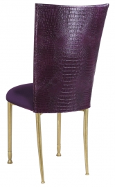 Purple Croc Chair Cover with Eggplant Velvet Cushion on Gold Legs