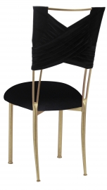 Black Velvet Sweetheart Chair Cover and Cushion on Gold Legs