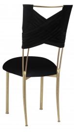 Black Velvet Sweetheart Chair Cover and Cushion on Gold Legs