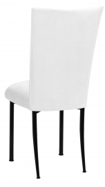 White Suede Chair Cover and Cushion on Black Legs