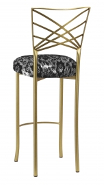 Gold Fanfare Barstool with Black Camisole Lace over Metallic Silver Stretch Knit Cushion