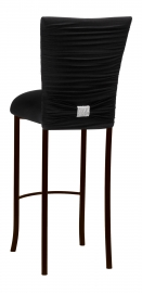 Chloe Black Stretch Knit Barstool Cover with Rhinestone Accent Band and Cushion on Brown Legs