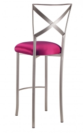 Simply X Barstool with Fuchsia Satin Cushion