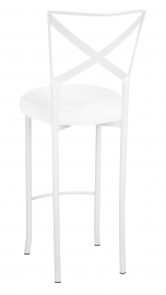 Simply X White Barstool with White Linette Boxed Cushion