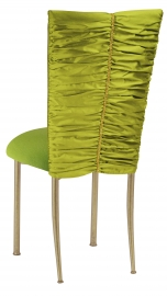 Green Shantung with Gold Rhinestone Accent and Lime Green Cushion on Gold Legs