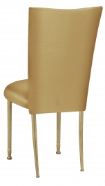 Gold Taffeta Chair Cover with Boxed Cushion on Gold Legs