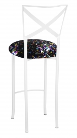Simply X White Barstool with Black Paint Splatter Cushion