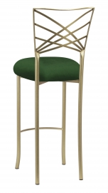 Gold Fanfare Barstool with Green Velvet Cushion
