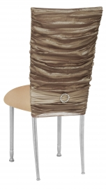 Beige Demure Chair Cover with Jeweled Band and Beige Stretch Knit Cushion on Silver Legs