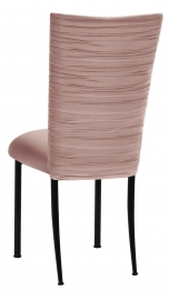 Chloe Blush Stretch Knit Chair Cover and Cushion on Black Legs