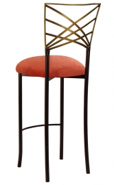 Two Tone Gold Fanfare Barstool with Paprika Velvet Cushion