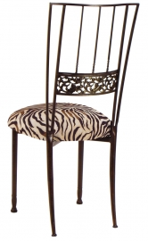 Mahogany Bella Fleur with Zebra Stretch Knit Cushion