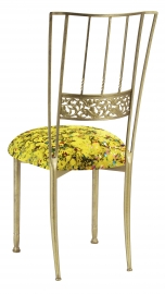 Gold Bella Fleur with Yellow Paint Splatter Knit Cushion