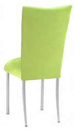 Lime Green Velvet Chair Cover and Cushion on Silver Legs