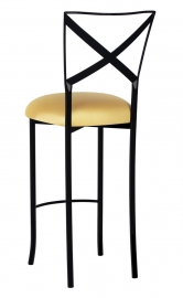 Blak. Barstool with Gold Stretch Knit Cushion