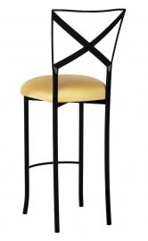 Blak. Barstool with Gold Stretch Knit Cushion