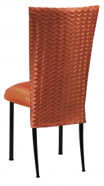 Orange Taffeta Scales 3/4 Chair Cover with Boxed Cushion on Black Legs