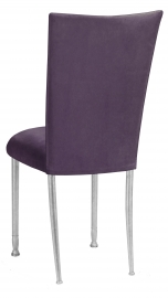 Lilac Suede Chair Cover and Cushion with Silver Legs