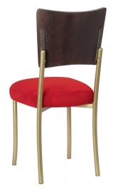 Wood Back Top on Gold Legs with Rhino Red Suede Cushion