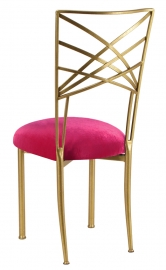 Gold Fanfare with Fuchsia Velvet Cushion
