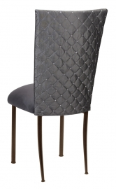 Charcoal Diamond Tufted Taffeta Chair Cover with Charcoal Suede Cushion on Brown Legs