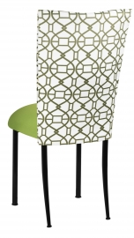 Blade Kaleidoscope Chair Cover with Lime Stretch Knit Cushion on Black Legs