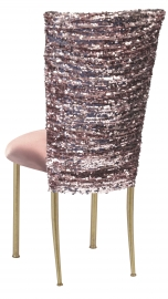 Blush Bedazzled Chair Cover and Blush Stretch Knit Cushion on Gold Legs