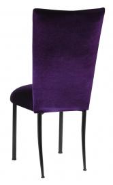 Deep Purple Velvet Chair Cover and Cushion on Black Legs