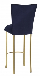 Navy Blue Suede Barstool Cover and Cushion on Gold Legs
