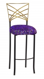 Two Tone Fanfare Barstool with Purple Paint Splatter Knit Cushion