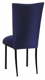 Navy Stretch Knit Chair Cover with Cushion on Black Legs