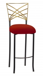 Two Tone Fanfare Barstool with Red Velvet Cushion