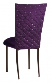 Purple Diamond Tufted Taffeta Chair Cover with Deep Purple Velvet Cushion on Brown Legs