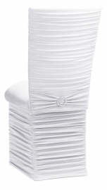 Chloe White Stretch Knit Chair Cover with Jewel Band, Cushion and Skirt
