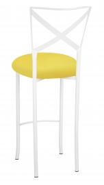 Simply X White Barstool with Bright Yellow Stretch Knit Cushion