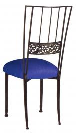 Mahogany Bella Fleur with Royal Blue Stretch Knit Cushion