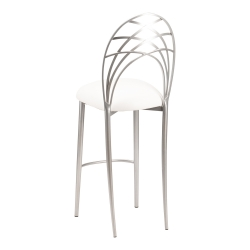 Silver Piazza Barstool with White Leatherette Cushion