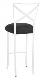 Simply X White Barstool with Charcoal Linette Boxed Cushion