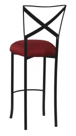 Blak. Barstool with Burnt Red Dupioni Boxed Cushion