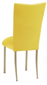 Sunshine Yellow Velvet Chair Cover and Cushion on Gold Legs