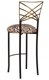 Two Tone Gold Fanfare Barstool with Zebra Stretch Knit Cushion