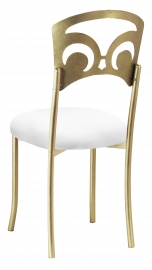 Gold Fleur de Lis with White Stretch Knit Cushion