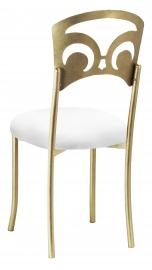 Gold Fleur de Lis with White Stretch Knit Cushion