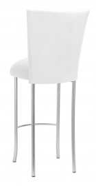 White Suede Barstool Cover and Cushion on Silver Legs