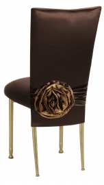 Brown Satin 3/4 Chair Cover with Rosette and Cushion on Gold Legs
