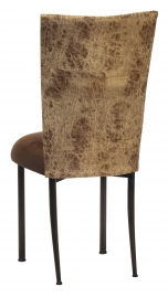 Durango Chocolate Leatherette with Chocolate Suede Cushion on Brown Legs