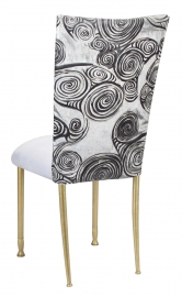 White Swirl Velvet Chair Cover with White Suede Cushion on Gold Legs