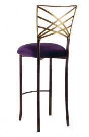Two Tone Gold Fanfare Barstool with Eggplant Velvet Cushion
