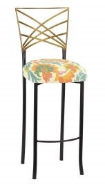 Two Tone Fanfare Barstool with Floral Bloom Boxed Cushion