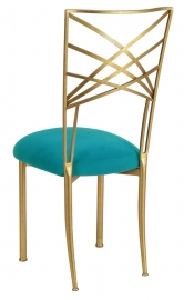 Gold Fanfare with Turquoise Suede Cushion